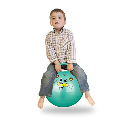 Relaxdays Hüpfball Kinder, Maus, mit Griff, für Drinnen und Draußen, mit Tier-Motiv, weich, 45 cm Durchmesser, grün
