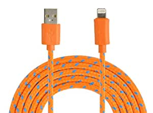 VEO - 2M braided 8 Pin Charger and Sync Lead,Cable for Apple iPhone 5, 5C, iPad Mini,iPad 4G,iPod Touch 5G,Nano 7G - Orange