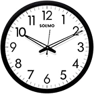 Amazon Brand - Solimo 12-inch Wall Clock - Sober (Silent Movement, Black Frame)