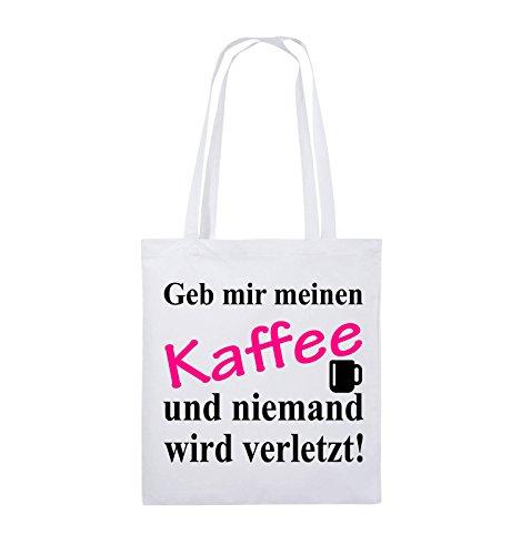 Comedy Bags - Geb mir meinen Kaffee und niemand wird verletzt! - Jutebeutel - lange Henkel - 38x42cm - Farbe: Weiss / Royalblau-Hellblau Weiss / Schwarz-Pink