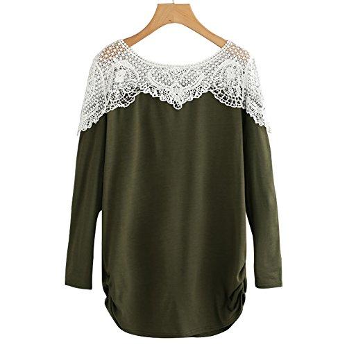 Fancathy Damen Kontrast Hollow Out Spitzen Langarm T-Shirt Top mit Aushöhlen und Häkelarbeit Damen Baumwolle Patchwork Häkeln Shirt Pullover Blusen ,  ( Grün - L )
