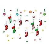 QTZJYLW Startseite Fensteraufkleber Weihnachtssocken Muster PVC-Wandaufkleber Für Weihnachtsgeschäft Party-Fensterdekorationen