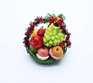 Décoration de Noël fruit cadeau panier Dollhouse miniatures alimentation à la main Set 2
