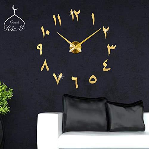 R&M Orient 3D Arabische Wanduhr große Moderne Mute lautloses DIY - Dekoration Geschenk - Wohnzimmer Home Office - 2 Jahre Garantie (Gold)