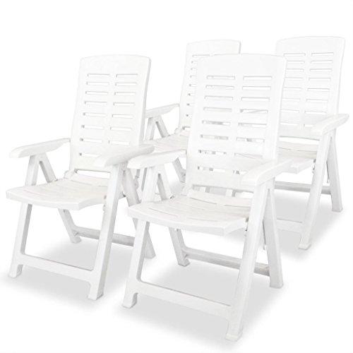 Festnight 4 STK. Verstellbare Gartenstühle Kunststoff Gartenstuhl Liegestuhl Klappstuhl Stühle 60 x 61 x 108 cm Weiß