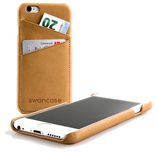 IPhone 6/6s Premium Back Cover von swancase - edle Echtleder Handytasche - sehr dünn - inkl. 2 Visitenkarten-Fächer auf der Rückseite - Farbe camel brown