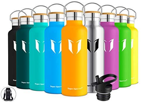 Super Sparrow Trinkflasche Edelstahl Wasserflasche - 500ml & 750ml & 1000ml - Isolier Flasche mit Perfekte Thermosflasche für das Laufen, Fitness, Yoga, Im Freien und Camping | Frei von BPA