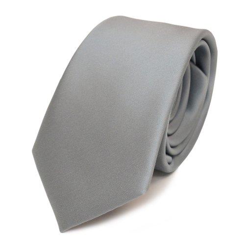 TigerTie schmale Satin Krawatte grau hellgrau silber uni - Binder Schlips + 100{40f39896107c589ab5e9d12010e7ee7cd6e82f108d285778d56b432d6ce0f638} Polyester