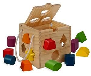 Eichhorn 100002092 – Steckwürfel aus Holz, 13-teilig, Holz natur/bunt – 14,5×14,5×14,5 cm – Spielwürfel – Motorik
