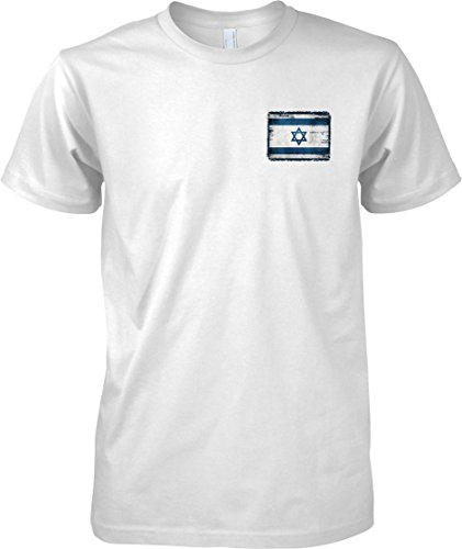 Israel Grunge Grunge Effect Flag - Kids Chest Design T Shirt - White - 12-13 Years (Flag-football Israel)