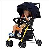QZX Zusammenklappbarer Kinderwagen mit kompakter Einhandfalte, abschließbaren Rädern und geräumiger, Verstellbarer Kapuze 5-Punkt-Sicherheitssystem Geeignet von Geburt bis 22 kg,Black