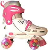 SFR Lightning Storm White/Pink Quad Roller Skates Medium