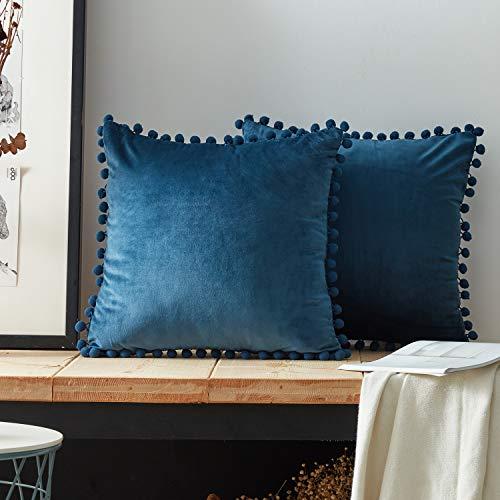 Top finel federe cuscini coperture con palline comode velluto cotone per divano decorativi letto 2 pezzi, 45x45 cm blu