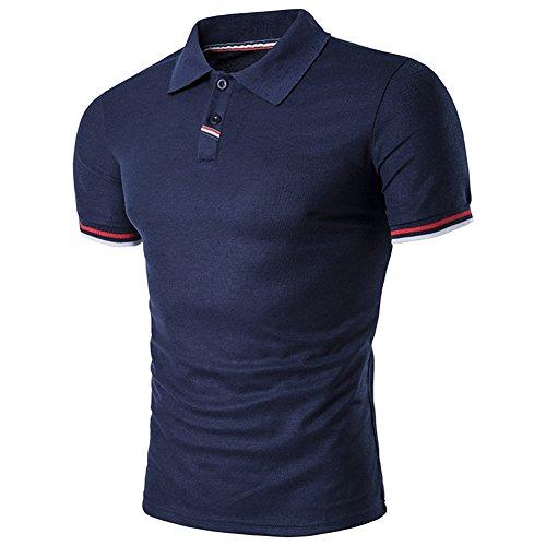BicRad Herren Shirt Polo Kurzarmshirt Slim Polohemden Baumwolle, Marine, Gr. L (Jobs Im Frühjahr)