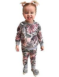 ☀☀Camisas para Bebés Niño,Recién Nacido Bebé Niñas Ropa Escudo Camiseta Tops + Floral Pantalones Polainas Trajes Conjuntos