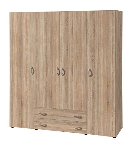 Avanti trendstore - balu 2,3 e 4, armadio ad ante a battente, disponibile in 2 diversi colori e 3 diverse larghezze (marrone, 4 ante)