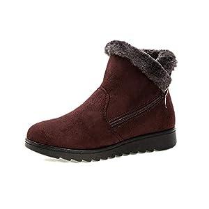 FJJLOVE Frauen-Schnee-Aufladungen Damen Winter warm Kurz Booties im Freien Antirutsch Ankle Boots Slip on Klettverschluss Flache Schuhe Legere Wanderschuhe