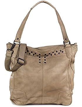 FREDsBRUDER Character Shopper Tasche - Schultertasche mit Nieten aus weichem Kalbsleder mit Spay-Effect - groß...