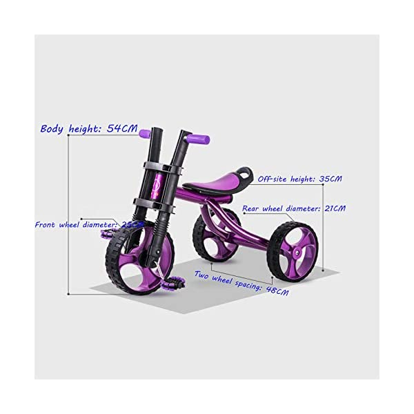 Childrens Tricycles 2 To 5 Years Easy Installation Kids' Trikes Anti-slip Pedals The Seat Can Be Adjusted Back Kids Tricycle Maximum Weight 25 Kg,Purple BGHKFF ★Material: Steel frame + TPR plastic, suitable for children aged 2-5, maximum weight 25 kg ★ Size: 57.5*25.5*38 cm/22.6*10*15inchs ★Cushion: sponge-filled, artificial PU leather, shock absorption, protect your baby's butt, soft and comfortable, dry and breathable, environmentally friendly 3