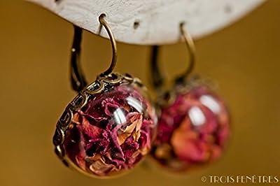 Boucles d'oreilles en verre - Pétales de roses rouges - 20mm - Cadeau pour femme - Roses éternelles