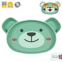 TUM TUM Bamboo Baby Suction Plate, Baby-Led Weaning Plate, with Removable Suction Base (Boris The Bear)