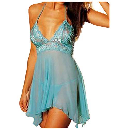 Große Größen Nachthemd für Damen/Dorical Frauen Sleepwear Negligee Satin Sexy Tiefer V-Ausschnitt Unterkleid Nachtwäsche Nachtkleid Ärmellos Rückenfrei 12 Farben S-6XL (4XL, Z02-Grün)