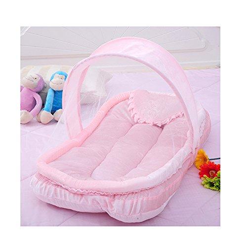 LINAG Baby Krippe Moskitonetz Portable Faltbare Travel Bed Bassinet Babybett Tragbares Multifunktionale Reisebett ,Pink