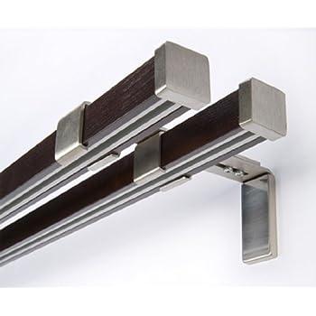 innenlauf gardinenstange 2 l ufig holz stahl stange 320 k che haushalt. Black Bedroom Furniture Sets. Home Design Ideas