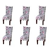 Pinji 6PCS Housse de Chaise Epais et Elastique en Polyester Couverture Amovible et élastique Protecteur de Siège pour Hôtel Restaurant Mariage Party