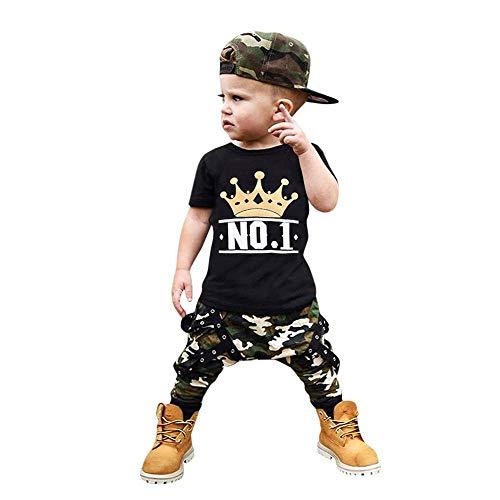 Obestseller Kinder Bekleidungsset,Kleinkind Kinder Baby Boy Brief T Shirt Tops + Camouflage Shorts Outfits Kleidung Set,Jungenbekleidung,Zweiteiliges Set