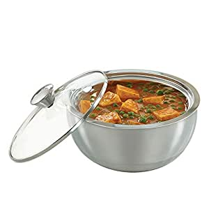 Borosil Stainless Steel Insulated Curry Server, 1.5 Litres, Silver