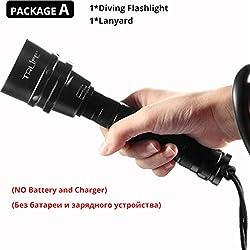 XINGXX Lampe de poche professionnelle lampe de poche Portable torche de plongée sous-marine 200m sous-marine Ipx8 Lampe de poche étanche Forfait Chine A
