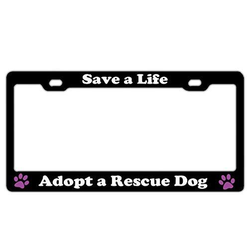 Superlicenseframe Nummernschildabdeckung für US-Autos mit 2 Löchern und Schraubenkappen, personalisierbar, Schwarz, Adopt a Rescue Dog (Adler Kennzeichenhalter)