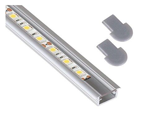 Aluminio Juego de Instalación de–Perfil de aluminio 2m + cubierta transparente + 2x endkappe–6mm Plano–para tira de luz LED