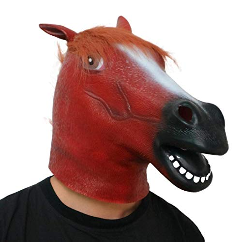 EoamIk Halte Den Boden Sauber Halloween Pferdekopf Maske Neu, Neuheit Fantastische Whimsey Kostüm Party Dekoration Latex Mark Halloween Maske