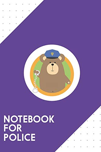 Notebook for Police: Dotted Journal with Officer Grizzly with Handcuffs in circle Design - Cool Gift for a friend or family who loves handcuff ... for School, College, Journaling or as a Diary (Grizzlies Hat)