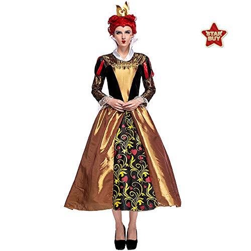 COSOER Alice Im Wunderland Pfirsich Herz Königin Cosplay Kostüm Retro Gericht Anzug Queen Kleid,Gold-M (Paare Kostüm Beängstigend)