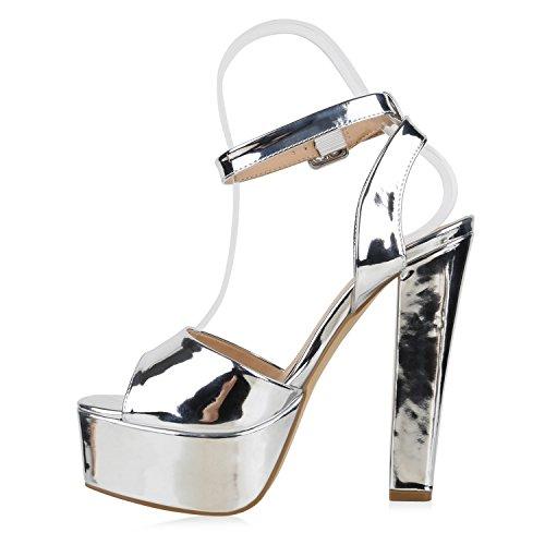 Damen Plateau Sandaletten | Peeptoes Party Schuhe | Pumps Blockabsatz High Heels |Satin Samt Strass Fransen Silber Lack