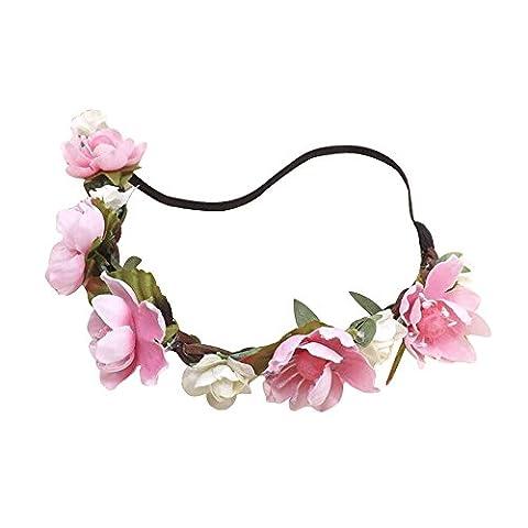 Haar Dekoration - TOOGOO (R) Blume Boho Blumenstirnband Girlande Festival Hochzeit Brauthaarband (rosa)