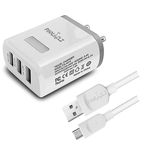 Pinnaclz Multi-Port Universal Tripple USB Charger 15+ Watt 3A Fast Charger for Android and Apple Devices Travel Charger Adapter with Micro USB Cable (WHT)