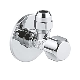 Grohe 22018000 Angle Valve for Single Lever Mixer Tap With Roughened Thread for Simple Sealing, Wall Connection 1/2 Inch with Slide Rosette, 3/8 Inch Outflow