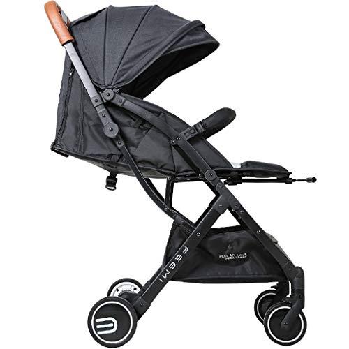 Passeggini per i più piccoli passeggino pieghevole portatile leggero può sedersi reclinabile all'ombra del posto (colore : nero)