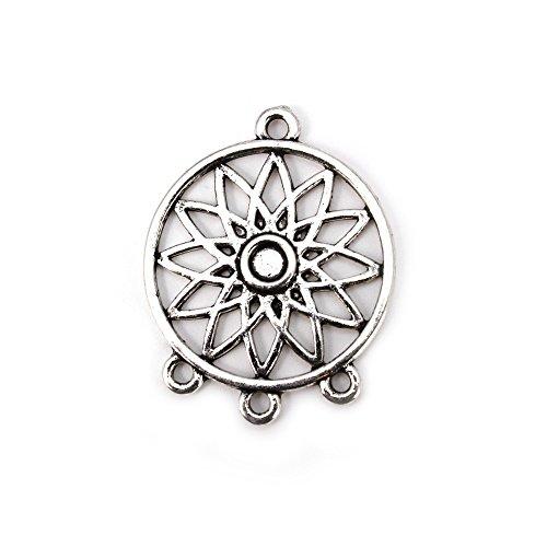 RUBY-Dijes de Flor de Mandala Colgante de Zamak Charm de Flor de Mandala para Pulseras y Collares (Modelo F)
