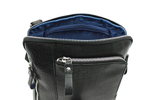 Pelle Visconti Merlin Collection Roy Cross corpo / Messenger Bag ML20 nero nero