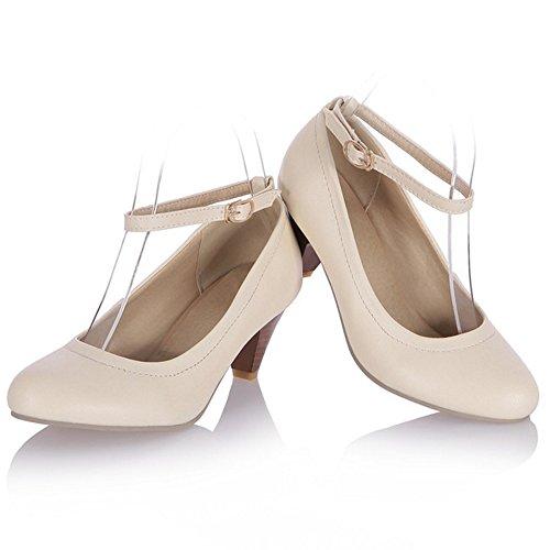 TAOFFEN Femmes Talons Moyen Escarpins Confortable Bloc Sangle De Cheville Chaussures De Boucle Beige