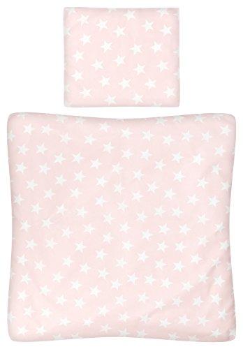 Aminata Kids - Baby-Bettwäsche-Set Wiege 80-x-80-cm Kissen-Bezug 35-x-40 cm Stuben-Wagen oder Kinder-Wagen Wiegen-Set Mädchen Baumwolle rosa Rose Weiss Stern-e