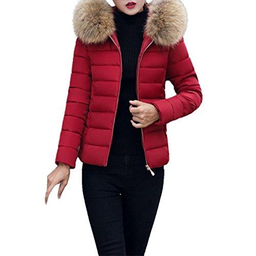 Preisvergleich Produktbild Elecenty Damen Warm Mantel Wintermantel kurz Winterjacke Dickere Mit Kapuze Slim fit Outwear Baumwollkleidung Parkajacke Reißverschluss Jacke steppjacke mit Pelz Halsband (XL, weinrote)