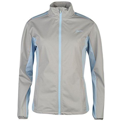 Slazenger Damen Softshell Golf Jacke Langarm Stehkragen Belüftungseinsätze Grey/Blau 14 (L) (Knopf-manschette - Stretch-blazer)