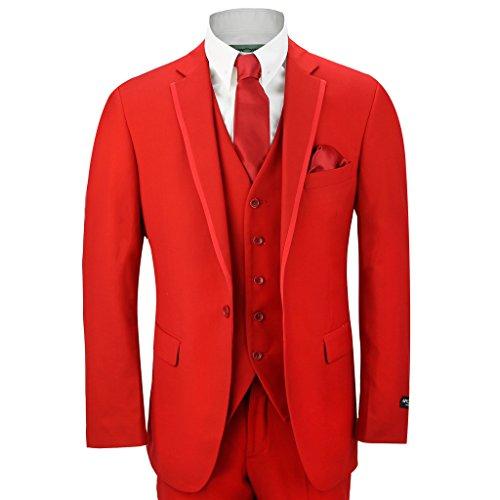 3-teiliger, roter, enggeschneiderter klassischer Herrenanzug für Hochzeit, Ball, Party, bestehend aus Blazer, Hose, Weste, rot (Drei Breasted Kostüm)