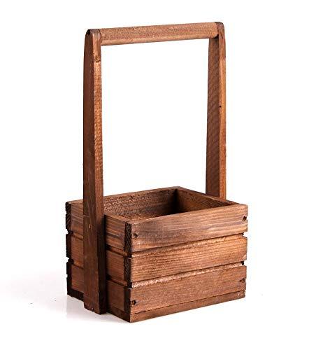 TINTOURS Boîte en Bois avec poignée pour Herbes et Fleurs Marron 18 x 13 x 11/31 cm